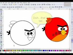Inkscape Tutorial Draw Red Angry Birds Cartoon by VscorpianC