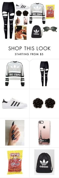 """""""chilling"""" by arrogantprincess on Polyvore featuring adidas Originals, WithChic, Erica Lyons, Casetify, adidas and Ray-Ban"""