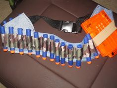 DIY Nerf darts ammo belt with magazine holder and slots for other weapon buckle strap