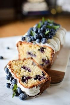 If there was ever a cake made for breakfast time it's this blueberry and white chocolate cake. Filled to the brim with juicy blueberries and white chocolate Cake Recipes, Dessert Recipes, Desserts, White Chocolate Cake, Gateaux Cake, Blueberry Cake, Loaf Cake, Savoury Cake, Clean Eating Snacks