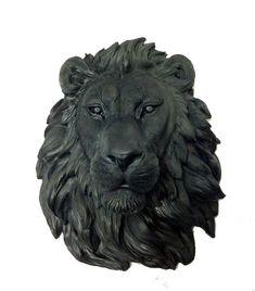 Black Lion Head Mount Wall Statue. Faux Taxidermy by FauxTaxidermy