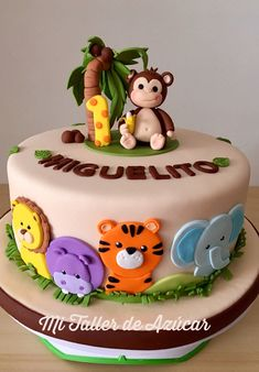 Baby birthday cake - Dschungelparty - - first birthday cake - Jungle Birthday Cakes, Jungle Theme Cakes, Boys First Birthday Cake, Animal Birthday Cakes, Safari Cakes, Blue Birthday, Jungle Party, Rainbow Birthday, Animal Cakes For Kids