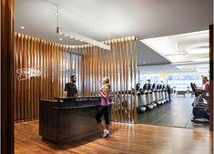 Equinox Gym- slatted partition walls, move along a track? Club Design, Gym Design, Wall Design, Equinox Gym, Gym Center, Luxury Gym, Gym Club, Hotel Gym, Gym Interior