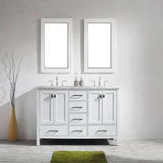 """The Aberdeen 60"""" double bowl Vanity is sleek and modern. It comes with a double layer Italian White Carrara marble countertop with beautiful gray strokes and starts at $1,090.87. There is also plenty of room to store all your bathroom needs!"""