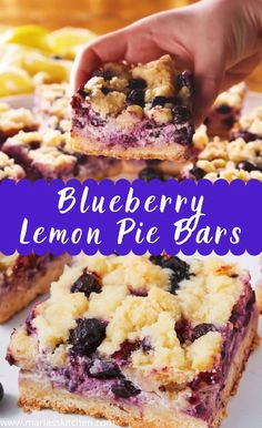 Easy blueberry lemon pie bars mini luscious lemon pies ~ a no bake dessert Summer Dessert Recipes, Healthy Dessert Recipes, Easy Desserts, Baking Recipes, Delicious Desserts, Easy Fruit Cake Recipe, Easy Dessert Bars, Easy Pie Recipes, Dessert Bread
