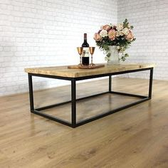 Industrial Coffee Table Vintage Reclaimed Wood Calia Style Plank Top Metal