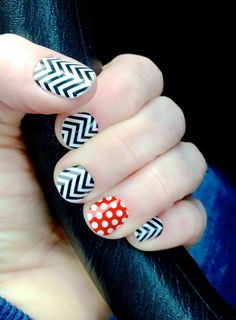 Black & White Chevron Jamberry Nail Wraps with a Poppy Red & White Polka accent nail. Chevron is all the rage thus year...why not wear it on your nails, too? Jamberry wraps are changing the way women everywhere think about polish-join the revolution & ditch the polish, too! To learn more, go to: www.taraeman.jamberrynails.net