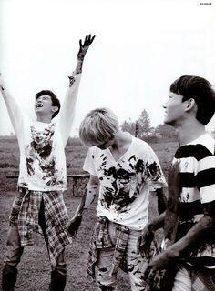 "EXO Photobook ""Dear Happniess"" in Fiji - Chen, Chanyeol and Baekhyun Exo Chanbaek, Chanyeol Baekhyun, Exo Chen, Exo Dear Happiness, Kpop, Exo Korea, Kim Jong Dae, Attack On Titan Levi, Boyfriend Material"