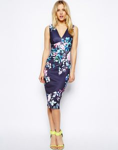 Asos Pastel Floral Deep Plunge Dress on shopstyle.com