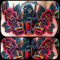 Lower stomach reaper cover up tattoo I made...cover up tattoo made by Sean Martin