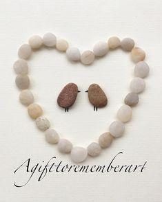 "61 Likes, 1 Comments - Neshat Ghaffari (@agifttorememberart) on Instagram: ""My new design of lovebirds! #agifttorememberart #pebbleart #stones #australia #handmadecards #etsy…"""