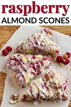 ALMOND RASPBERRY SCONES Here is a summer scone recipe to get you even more excited for the warm weather that is on its way. One of the best parts of these raspberry almond scones is that they are so simple to make. Brunch Recipes, Sweet Recipes, Breakfast Recipes, Köstliche Desserts, Dessert Recipes, Yummy Treats, Yummy Food, Baking Recipes, Scone Recipes