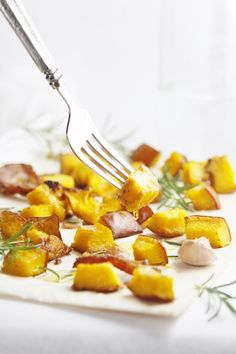 Roasted Pumpkin with Pancetta and Rosemary  (I used butternut squash and potato - yumm!)