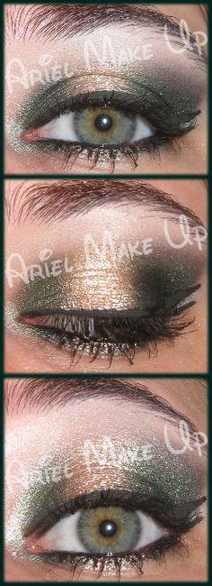 @ArielMakeUp #7daysmakeupnails #christmasmakeup http://arielmakeupblog.blogspot.it/2013/12/7daysmakeupnails-1-green-and-gold-make.html