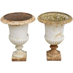 Pair of French Antique Campana Cast Iron Garden Urns