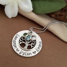 Personalized Family Tree Necklace   Birthstone Necklace   Family Tree Necklace For Mom   Grandmother