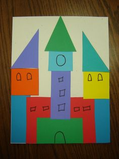 Creative craft with shapes. Make a city or a train or a castle or ... Also cut shapes from felt for the flannel board for repeated picture making.