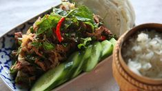 Also known as laab and laap, this recipe for spicy Laotian beef salad is packed with flavour thanks to a plethora of Asian herbs, a good hit of chilli and a . Fig Recipes, Asian Recipes, Cooking Recipes, Ethnic Recipes, Asian Foods, Dishes Recipes, Recipies, Fish Dishes, Main Dishes