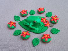 Polymer Clay Green Tree Frog Pendant with by FlowertownOriginals, $28.00