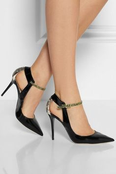 Heel measures approximately 100mm/ 4 inches Black patent-leather Off-white elaphe panel, side cutouts, pointed toe Lime-green elaphe buckle-fastening ankle strap Elaphe: China