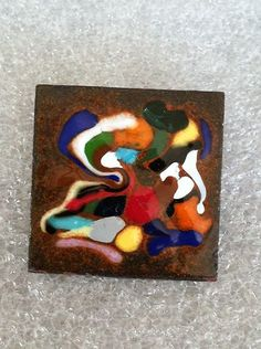 Vintage Abstract Enamel on Copper Pin