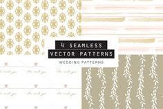 Wedding Seamless Patterns set of 4 by Youandigraphics on Graphic Patterns, Graphic Design, Watercolor Effects, Simple Lines, Vector Pattern, Textures Patterns, Geometric Shapes, Custom Design, How To Draw Hands
