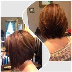 Short angled bob with caramel and auburn color. #hair #shorthair