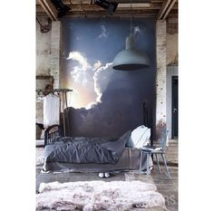Sunburst wallpaper on brick wall   #interiors #clouds #inspiration #brickwall #wallpaper