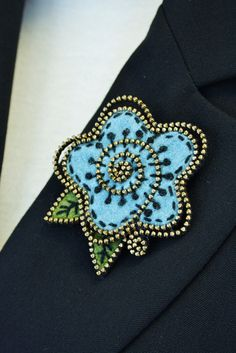 Felt and zipper cabbage rose..... turquoise by woollyfabulous, $34.00