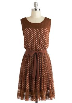 Sienna You Soon Dress - Brown, Tan / Cream, Polka Dots, Sleeveless, Mid-length, Belted, Party, Vintage Inspired, Lace, Pleats, 20s