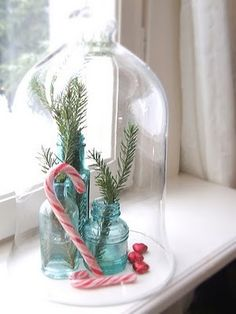 Christmas Cloche with blue glass http://weheartit.com/entry/6039548  #cloche #christmas #blue #glass