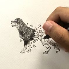 Geometric Beasts | Rottweiler  Inking process