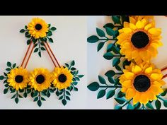 Paper Flower Wall Hanging- Easy Wall Decoration Ideas - Paper craft - DIY Wall Decor - YouTube Hanging Flower Wall, Paper Flower Wall, Paper Wall Hanging, Flower Wall Decor, Leaf Crafts, Flower Crafts, Diy Flowers, Happy Birthday Hand Lettering, Paper Sunflowers