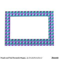 Purple and Teal Pyramids Magnetic Frame