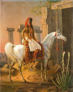 W. Ammon, μέσα 19ου αιώνα, Έλληνας ιππέας στα αρχαία ερείπια.