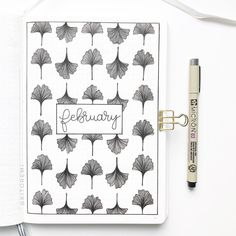@kitoremi hello february bullet journal cover page with floral doodles