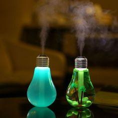 USB 초음파 가습기 홈 사무실 미니 아로마 다채로운 LED 밤 전구 아로마 분무기 창조적 인 병