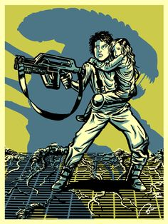 """Ellen Ripley and Newt from """"Aliens."""" This piece was my submission to Planet-Pulp's """"The Super Action Hero Show."""" Ellen Ripley from Aliens Aliens 1986, Aliens Funny, Aliens Movie, Alien Ripley, Alien Isolation, Alien Tattoo, Alien Queen, Alien Vs Predator, Posters"""