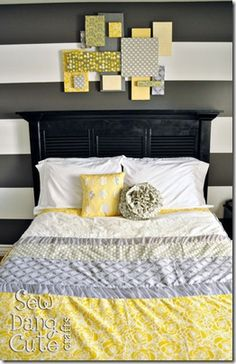 shutters/louvered doors turned into head board...and the fabric over styrafoam wall decor is cool too.