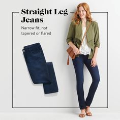 """""""Straight leg jeans are skinny jeans more forgiving cousin—especially if you are curvy or have thicker legs. Wear them with a striped tee and anorak for an effortlessly timeless look.""""— Stylist Casey C."""