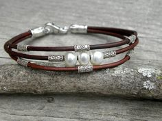 Saltwater Akoya PearlsLeather and Sterling Silver by TANGRA2009