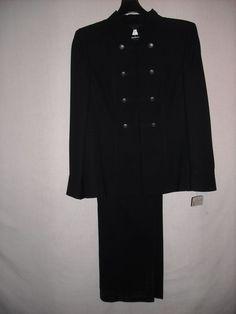 Tahari Arthur Levine black fully lined career pant suit size 16 #Tahari #PantSuit