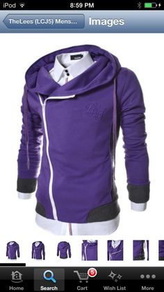 84a429db5ebcfc Unbalanced hoodie fashion (purple) Gentlemen Wear, Mens Gear, Cotton  Jacket, Slim