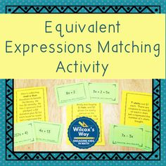 Equivalent Expressions Matching Activity by Wilcox's Way Teacher Hacks, Teacher Pay Teachers, Equivalent Expressions, Combining Like Terms, Distributive Property, Matching Cards, Common Core Standards, Teacher Newsletter, Lesson Plans