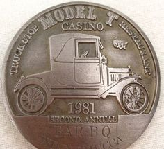 "Model T Casino Belt Buckle Automobile Truck Stop Car Restaurant Metal 3"" Circle"
