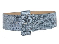 3 Inch Wide High Waist Croco Print Patent Leather Fashion Belt Size: S/M - 32 Color: Blue Made by #beltiscool Color #Blue. High waist wide belt. Crocodile print detailing. Man Made Patent Leather. Self-covered rectangular buckle