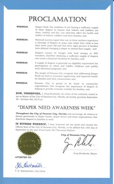 PANAMA CITY, FL - Mayoral proclamation recognizing Diaper Need Awareness Week (Sep. 26-Oct. 2, 2016) #DiaperNeed Diaperneed.org