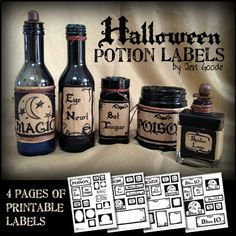 Halloween potion and witch's brew labels Printable Halloween potion labels by Jen GoodePrintable Halloween potion labels by Jen Goode Halloween Apothecary, Halloween Potions, Halloween Bottles, Halloween Labels, Halloween Party Decor, Holidays Halloween, Halloween Crafts, Happy Halloween, Halloween Printable