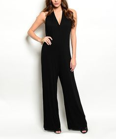 Look what I found on #zulily! Black V-Neck Jumpsuit by 24|7 Frenzy #zulilyfinds