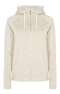 Veste à capuche écru doublée avec zip